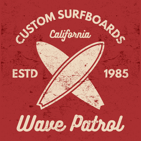 Vintage Surfing tee design. Retro t-shirt Graphics and Emblems for web design or print. Surfer, beach style logo design. Surf Badge. Surfboard seal, elements, symbols. Summer boarding on waves.