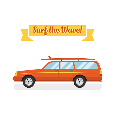 retro flat web banner design on surfing, best summer vacation, beach recreation, water activities for travel agency promotion with woody surf car, surfboards. Vintage car isolated