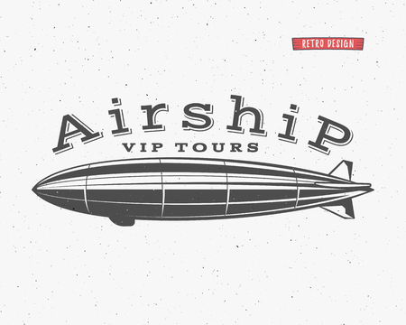 Vintage airship background. Retro Dirigible balloon vip tours label template. Steampunk design. Steam punk old sketching style. Use as badge, label for web design or tee design, t-shirt print