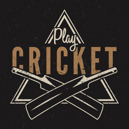 Retro cricket emblem design. logo icon . badge. Sports symbols with gear, equipment. tee . shirt . T- prints style. Imagens