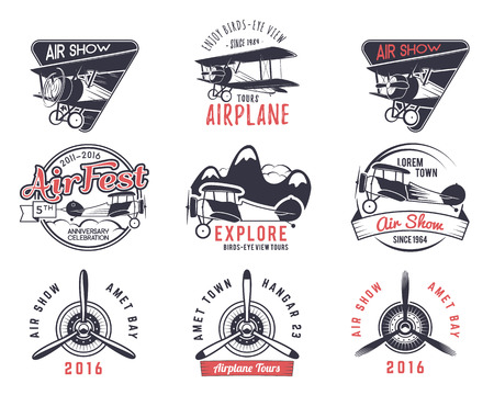 old fly stamps. Travel or business airplane tour emblems. Biplane academy labels. Retro aerial badges isolated. Pilot school  . Plane tee and t-shirt design for print webdesign. Propeller Stock Photo