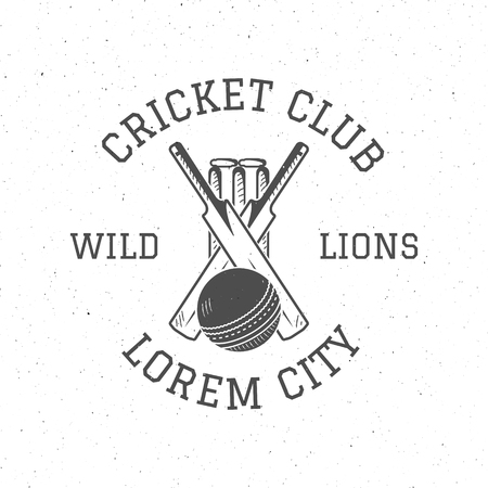 Retro cricket club  icon design. Vintage Cricket emblem. Cricket badge. Sports tee design and symbols with cricket gear, equipment for web or t-shirt print