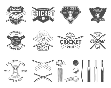 Set of cricket sports logo templates. Cricketer emblems and gear, equipment symbols. Sporting tee designs. Club, tournament badges, labels. Isolated on white. Use for web or t-shirt print