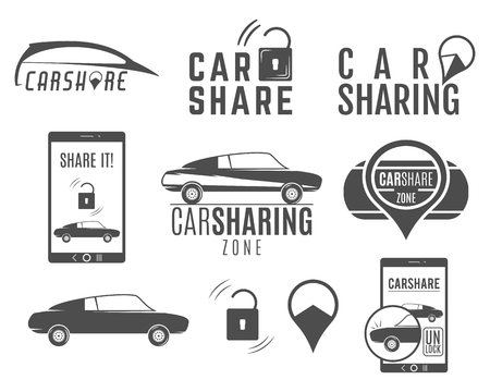 Car share logo designs set. Car Sharing concepts. Collective usage of cars via web application. Carsharing icons, elements and symbols collection. Use for webdesign or print