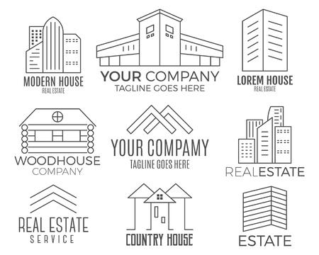 Set di disegni di case, icona di immobili adatti per informazioni grafiche, siti Web e supporti di stampa. , icona piatta, badge, etichette, clip art. Stile Lineart. Design sottile linea Archivio Fotografico - 77536241