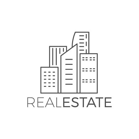 modern house  design, real estate icon suitable for info graphics, websites and print media. , flat , badge, label, clip art. Lineart style. Thin line . Monochrome Stock Photo