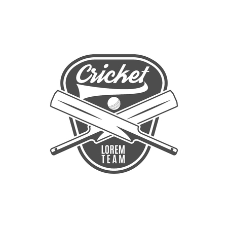 Cricket team emblem and design elements.    club badge. Sports symbols with gear, equipment. Use for web , tee or print on t-shirt. Monochrome