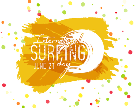 Surfing day label graphic elements. Vacation typography emblem on watercolor ink splash. Surfer party badge with surf symbols - ocean wave element. Best for web design or print on t-shirt