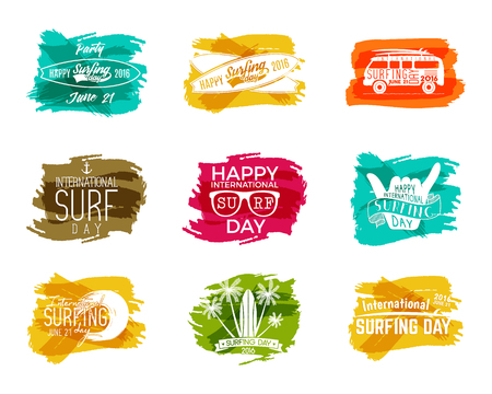 Summer surfing day graphic elements. Vacation typography emblems set. Surfer party with surf symbols - shaka sign, rv style car, board, palms on watercolor ink splash designs. Web or print Stock Photo