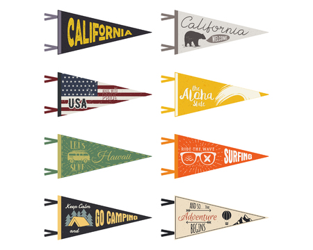 Set of adventure pennants. Pennant explore flags design. Vintage surf, caravan, rv templates. USA, california pennant with summer camp symbols trailer, signpost, bear. Summer hawaii old style.