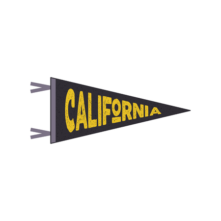 California pennant. California flag design. Retro tee design. Vintage cali t-shirt design. Travel print with cali symbol bear. graphic leisure concept isolated. Retro outdoors