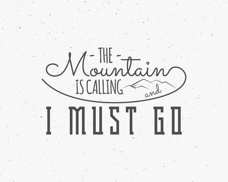 Las montañas están llamando letras, elementos de aventura Concepto de inspiración de inspiración al aire libre. Motivación plantilla de cita.