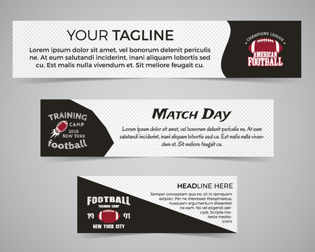 Set of American football banner template with soccer logo, label and badge. Stylish bright identity design.