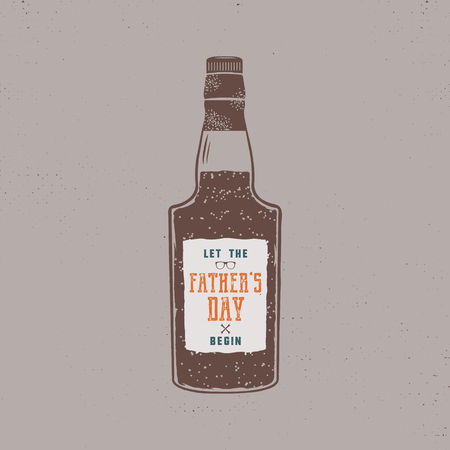 Fathers day label design. Rum bottle with sign - Let Fathers day begin. Funny holiday concept in retro colors style for celebrating day of father. Stock vector illustration isolated Ilustrace