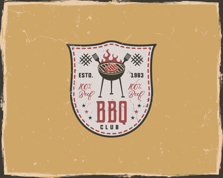 BBQ Club Typography Poster Template In Retro Old Style. Offset ...