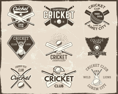 Set of retro cricket sports template logo designs. Use as icons, badges, label, emblems or print. Vector illustration sport championship. Isolated on scratched background