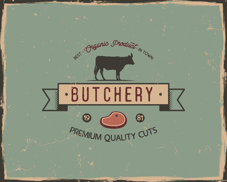 Butchery shop typography poster template in retro old style. Offset and letterpress design. Letter press label, emblem. Isolated on scratched background. Stock vector illustration Illustration