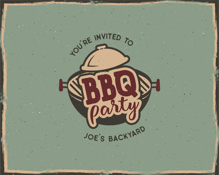 BBQ party typography poster template in retro old style. Offset and letterpress design. Letter press label, emblem. Isolated on scratched background. Stock illustration