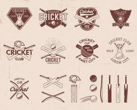 Set of retro cricket sports template logo designs. Use as icons, badges, label, emblems or print. Vector illustration sport championship. Isolated on scratched background. Stock illustration