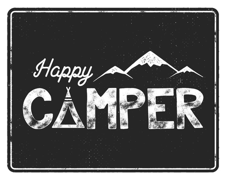 hiking: Happy camper poster template. Tent, mountains and text sign. Retro monochrome design. Hiking emblem. Stock vector isolated on black background. Illustration