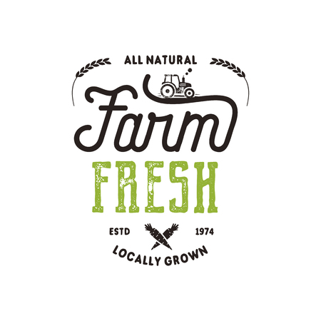 Farmers Market typography badge. Fresh and Local product logo template. Typographic eco farm insignia in black and green style. Isolated on white background. Vector patch.