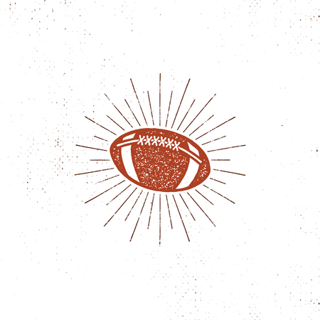 Vector american football bal illustration, icon. Retro design. Usa sports pictogram with sunbursts isolated on white background. Vector vintage style.