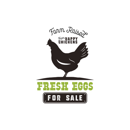 Farm fresh eggs poster, vintage rustic emblem with chicken. Retro typography style. Black and green vector design, Isolated on white background