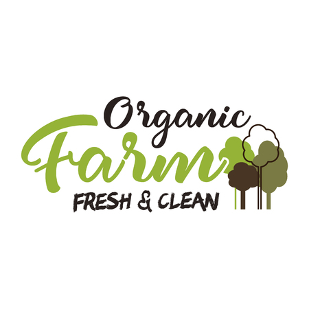 Organic farm typography emblem. Lettering and calligraphy logo design. Included trees symbols. Isolated on white background. Vintage vector template