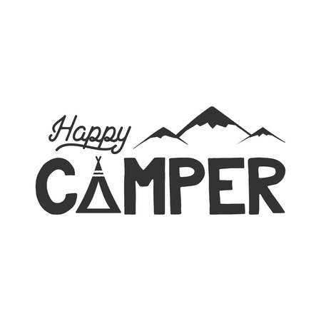 Happy camper poster template. Tent, mountains and text sign. Retro monochrome design. Hiking emblem. Stock vector isolated on white background