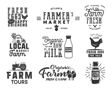 Farmer s Market, organic food, milk and eggs badges set. Fresh and Local product logo designs. Typographic eco farm insignia in monochrome style. Isolated on white background. patches