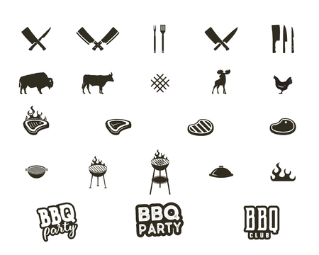 Steak house and grill silhouette textured icons. Black shapes isolated on white background. Included grill equipment, tools, elements and typography signs - bbq party concept and other. Stock Photo