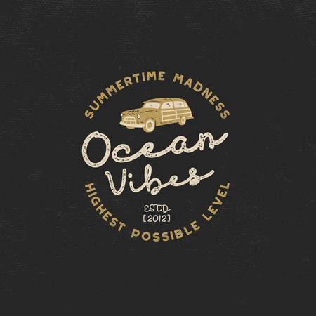 Vintage hand drawn label design. Ocean vibes sign with old retro style surf car. Hipster tee apparel template for t shirt prints, mugs, other brand identity. Isolated on dark. Stock vector poster Illustration