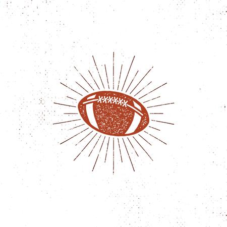 american football bal illustration, icon. Retro design. Usa sports pictogram with sunbursts isolated on white background. vintage style