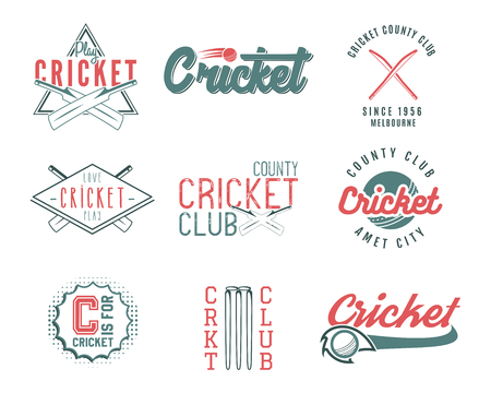 Set of retro cricket sports template  designs. Use as icons, badges, label, emblems or print. illustration sport championship. Isolated on white background Stock Photo