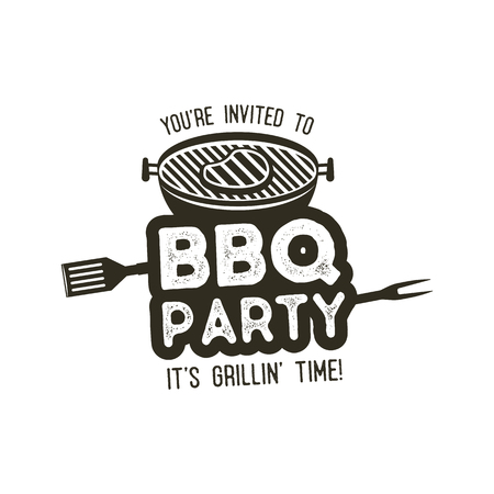 BBQ party typography poster template in retro old style. Offset and letterpress design. Letter press label, emblem. Isolated on white background. Stock . Stock Photo