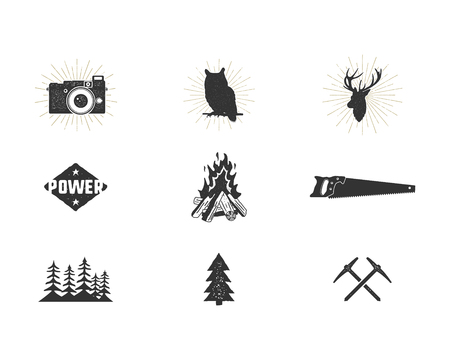 Outdoor adventure silhouette icons set. Climb and camping shapes collection. Simple black pictograms bundle. Use for creating logo and other hiking, surf designs. Vector isolated on white.