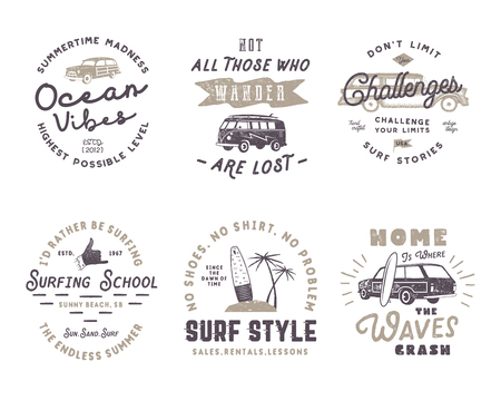 Set of Vintage Surfing Graphics and Emblems for web design or print. Surfer logotypes. Surf Badges. Summer fun typography insignia collection. Stock Vector hipster patches isolated on white Çizim