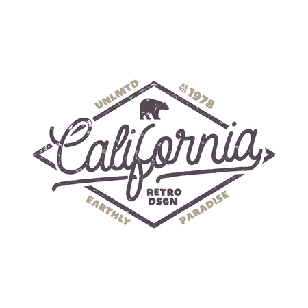 Summer California label with bear and typography elements. Retro surf style for t-shirts, emblems, mugs, apparel design, clothing and other identity stock vector isolated on white background
