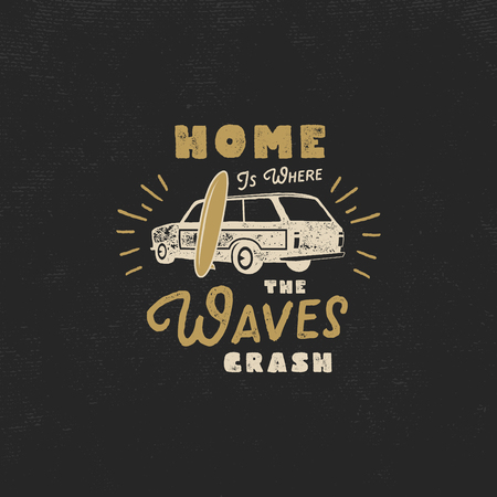 Summer label with retro surf car, surfboard and typography elements. Vintage beach style for t-shirts, emblems, mugs, apparel design, clothing and other identity. Stock vector isolated on dark. Illustration