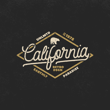 Summer California label with bear and typography elements. Retro surf style for t-shirts, emblems, mugs, apparel design, clothing and other identity. Stock vector isolated on dark background. Illustration