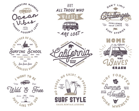 Set of Vintage Surfing Graphics and Emblems for web design or print. Surfer logo templates. Surf Badges. Summer fun typography insignia collection. Stock Vector hipster patches isolated on white.