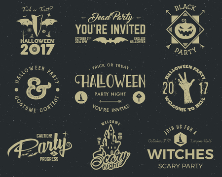 pumpkin patch: Halloween 2017 party label templates with scary symbols - zombie hand, witch hat, bat, pumpkin and typography elements. Use for party posters, flyers, invitations, on t-shirt, tees and other identity.