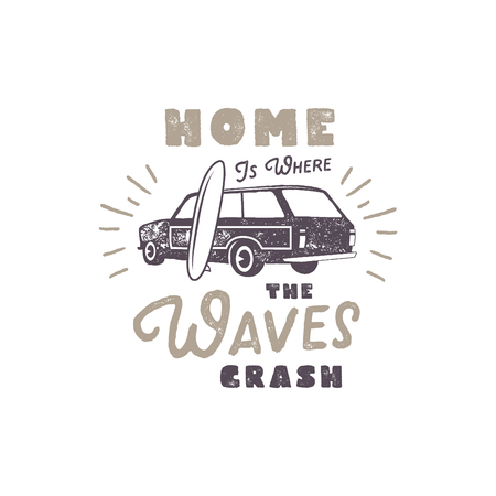 Summer label with retro surf car, surfboard and typography elements. Vintage beach style for t-shirts, emblems, mugs, apparel design, clothing and other identity stock vector isolated on white.