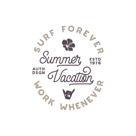 use by label: Summer vacation label. Surfing style emblem, logotype design. Flower, shaka sign and typography elements included. Use for apparel, t-shirts, print, posters stock vector isolated on white background