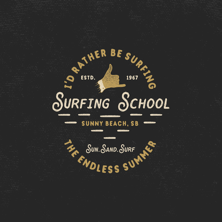 Surfing school vintage emblem. Retro logo design with shaka sign and typography elements stock vector isolated on dark old style background