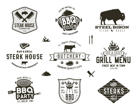 Set of vintage steak house, bbq party, barbecue grill badges, labels. Retro typography hand drawn style. Butcher logo design with letterpress effect. illustration isolated on white background