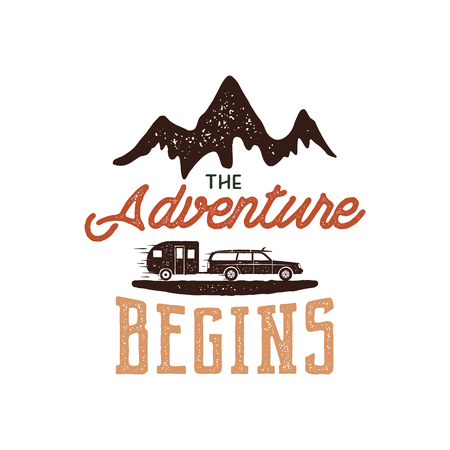 Vintage adventure Hand drawn label design. The Adventure Begins sign and outdoor activity symbols - mountains, rv trailer. Retro colors. Isolated on white background. letterpress effect