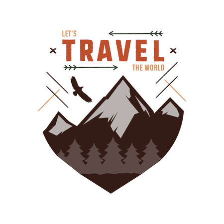 scouting: Vintage adventure Hand drawn label design. Let s travel the World sign and outdoor activity symbols - mountains, forest eagle. Retro colors. Isolated on white background. letterpress effect