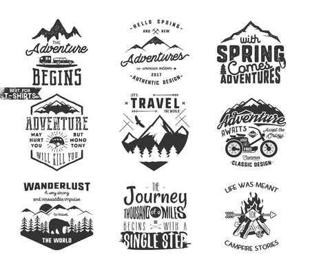 Spring adventure and mountain explorer typography labels set. Outdoors activity inspirational insignias. Silhouette hipster style. Best for t shirts, mugs. patches isolated on white background Stock Photo