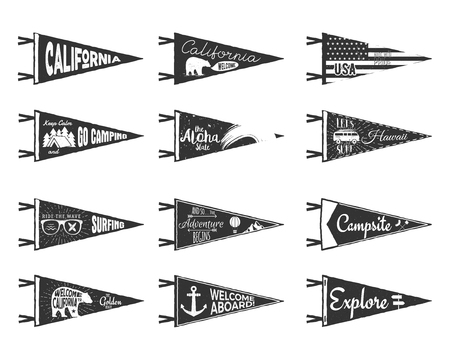 Hand drawn adventure pennants and flags set. Vintage rustic style labels isolated on white. Monochrome grunge and ripped badges. Stock Photo